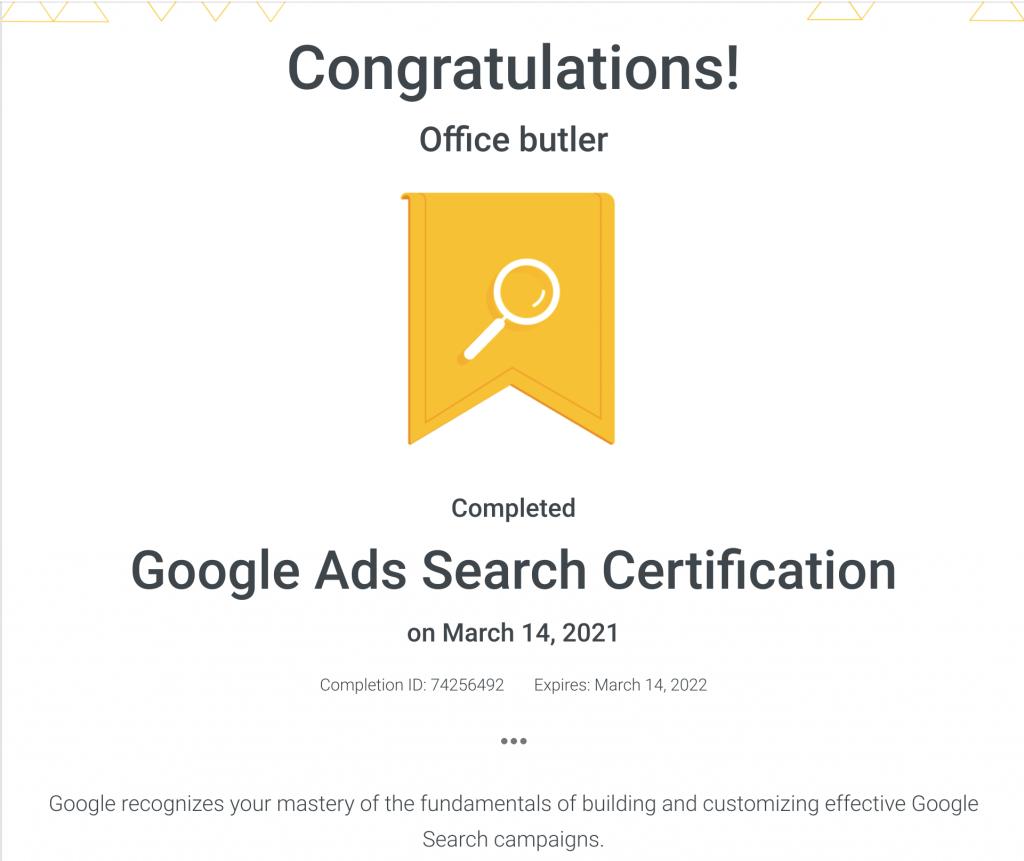 Google Ad certificate